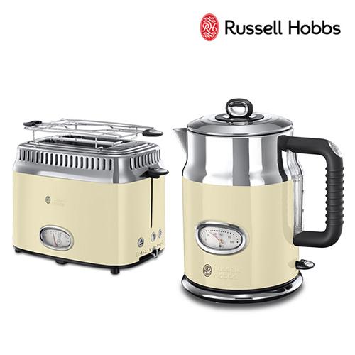 [Russell Hobbs] 러셀홉스 레트로 전기포트+토스터 세트_RH-2167C+RH-2168C_크림